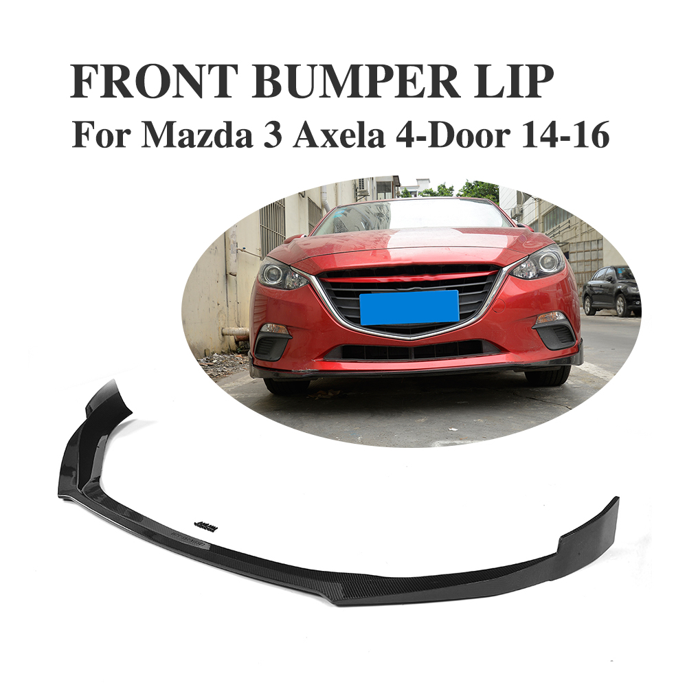 цена Carbon Fiber Front Bumper Lip Spoiler Apron for Mazda 3 Axela sedan Hatchback 4-Door 2014-2016 Car Tuning Parts