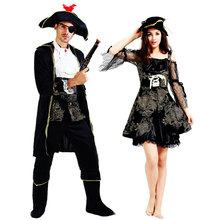 Umorden Halloween Pirate Costumes Adult Men Women Captain Costume Black Gold Printing Fantasia Carnival Cosplay Couple
