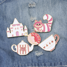 Cute Girls Gift Fairy Tale Alice in Wonderland Pin Brooch Palace Crown Teapot Cup Hat Enamel Badge Girl Jewelry