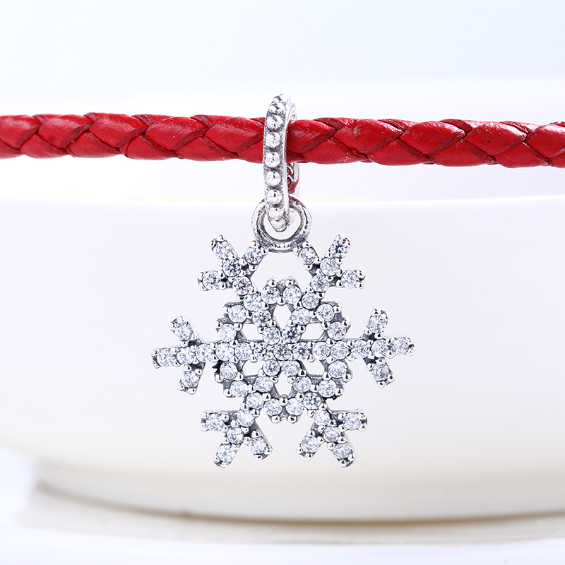 New 100% 925 Sterling Silver Fit Original Pandora Bracelet Snowflake Necklace Pendant DIY Charms Beads for Jewelry Making Gift