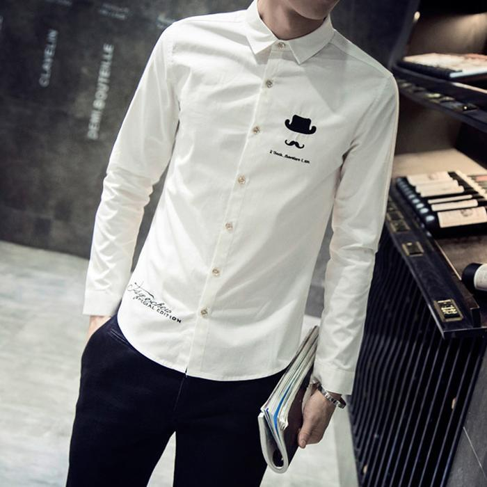 Men Fashion Casual Long Sleeve Turndown Printed Button Slim Shirt Top Collar Spring, Summer 25