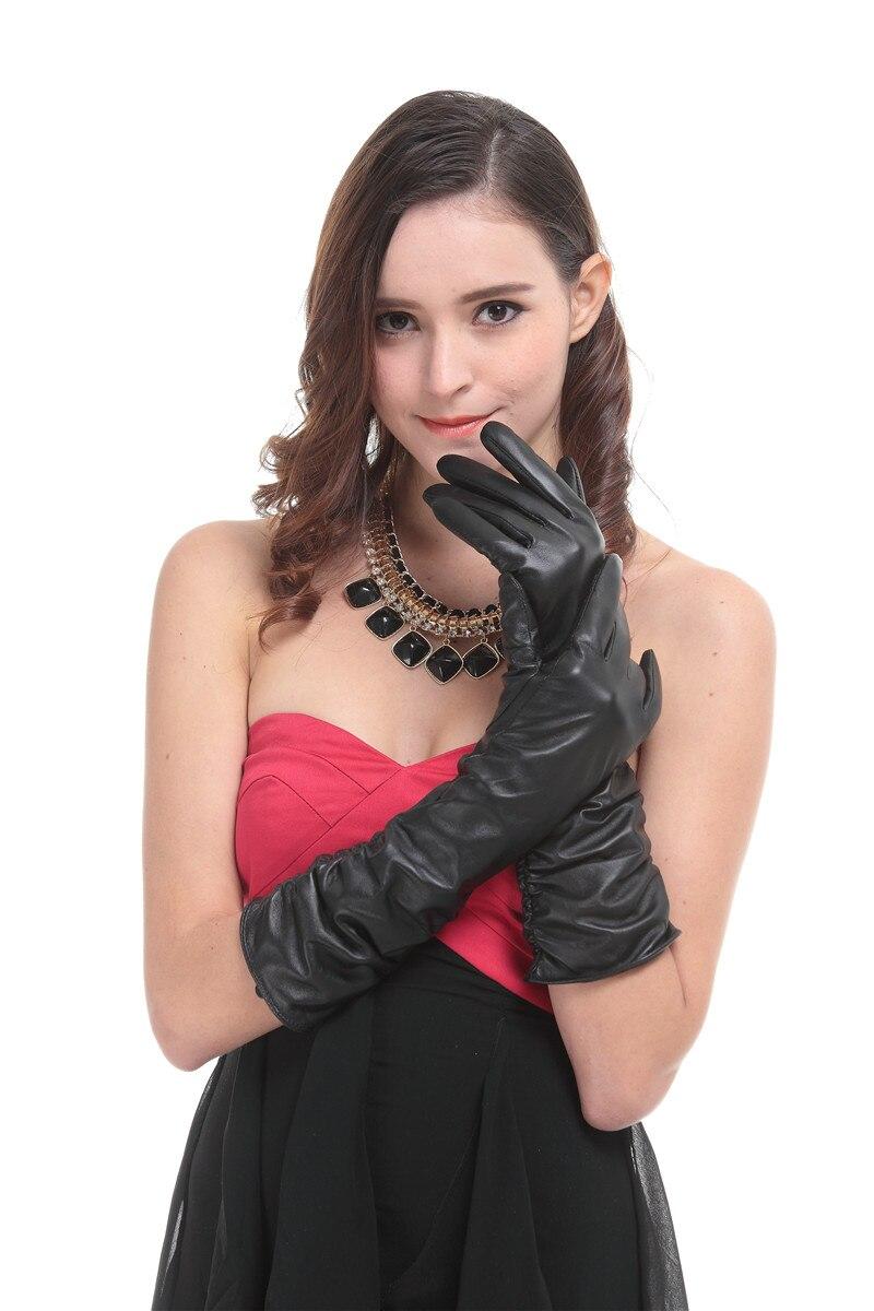 Black vinyl gloves long - Kursheuel Elbow Length Long Black Genuine Leather Opera Gloves For Women