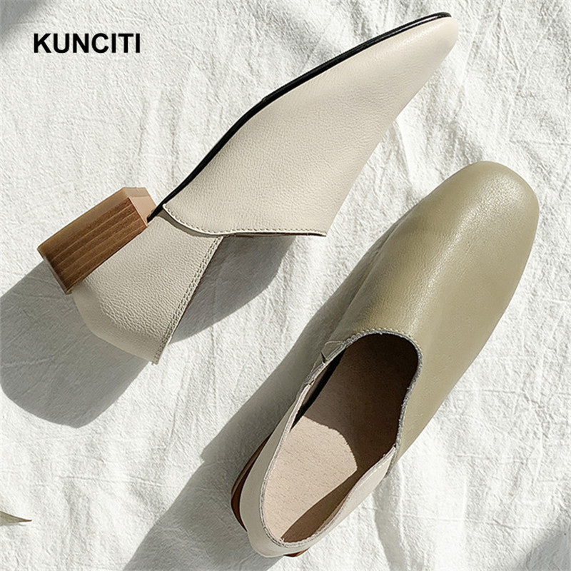 2019 Genuine Leather Women Flat Shoes Square Toe Fashion Mules Soft Shoes Woman Fashion Brand Shoes Pregnant Flat Moccasins F950