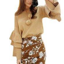 ผู้หญิงสองชั้นr ufflesแขนถักเสื้อกันหนาววินเทจเสื้อกันหนาวและp ulloversฤดูใบไม้ร่วงแฟชั่นเสื้อถักจัมเปอร์WN166