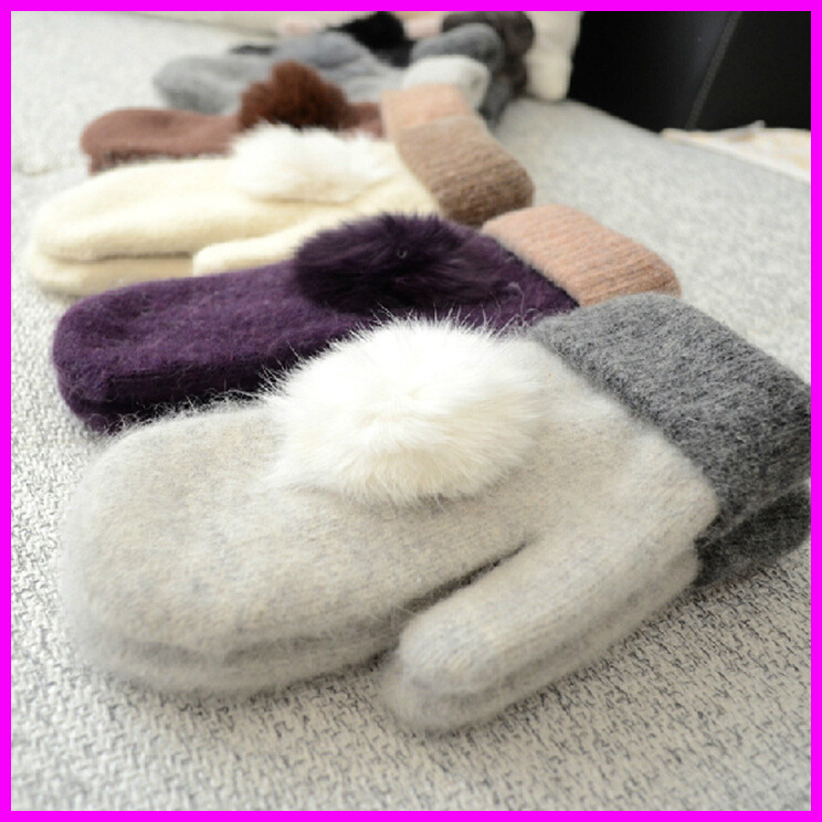 Gloves & Mittens: 2016 Women Winter Warm Wool Gloves Ladies Rabbit Fur Pom Poms Mittens Fingerless Gloves guantes mitones