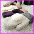 2016 Женщины Зима Теплая Шерсть Перчатки Дамы Мех Кролика Пом Англичане Варежки Без Пальцев Перчатки guantes mitones
