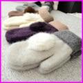 2016 Mulheres de Inverno de Lã Quente Luvas de Pele De Coelho Senhoras Pom Poms mitones Luvas Sem Dedos Luvas guantes