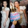 Kim Kardashian Sexy Vestidos de Baile 2016 Cap Mangas de Encaje Crema Perlas Longitud de La Rodilla Vestidos Longos Prom Formal Vestidos de La Celebridad