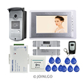 "Free Shipping 7"" Color Monitor Video Door Phone Intercom System + Outdoor RFID Access Doorbell Camera Electric Drop Bolt Lock"