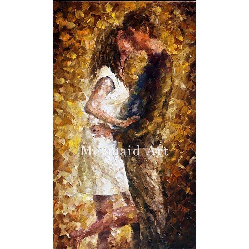 ₪Pintura al óleo pintada a mano en la lona para beso romántico ...