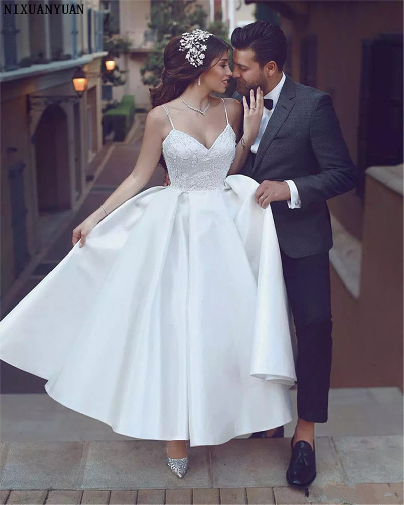 Elegant A-Line Ankle Length Country Short Wedding Dress Satin Plus Size Spaghetti Straps Lace Appliqued Bridal Gowns Vestidos