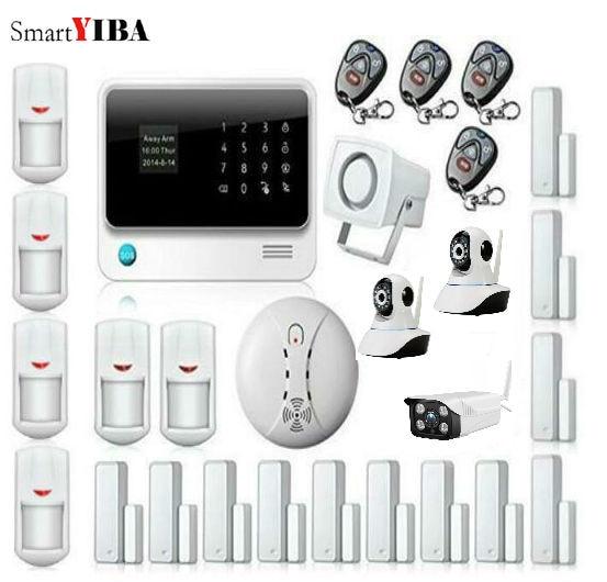 SmartYIBA Wireless SMS Alarme Maison Allarme Casa Outdoor/Indoor IP Camera Smoke Alarm WIFI GSM GPRS Alarme Residencial Sem Fio