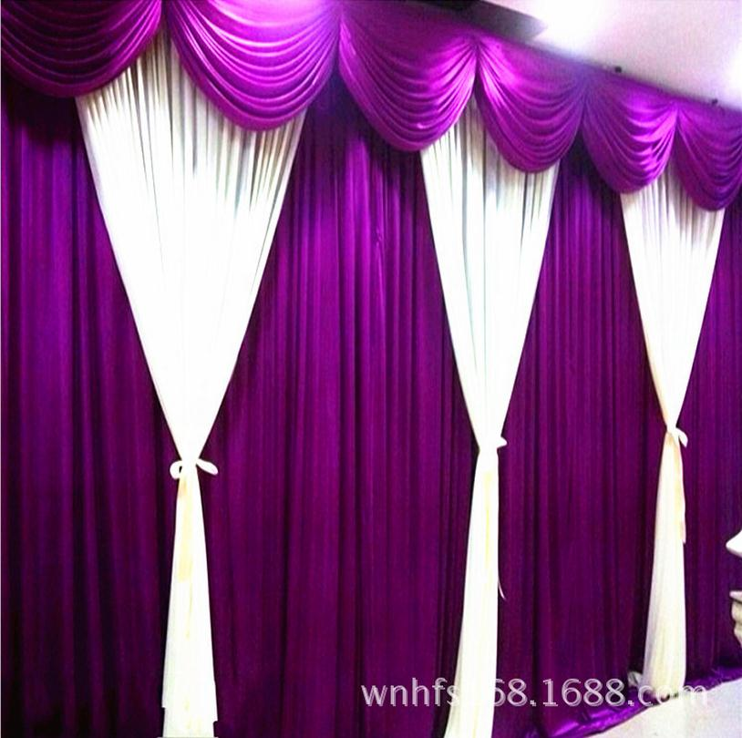 Purple Wedding Backdrop Curtain with White Swag 3X6M Satin Party Stage Background Pleated