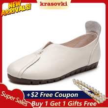 Koznoy 2018 Spring Autumn Women  Genuine Leather Loafers Fashion flats grey white black Shoes Woman Slip On loafers Casual Shoes цена 2017