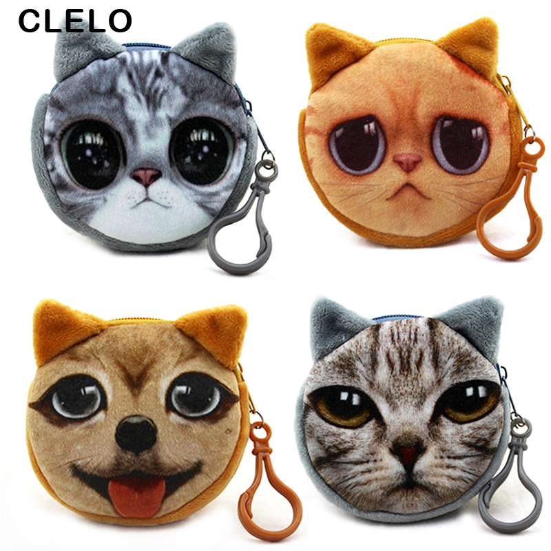 CLELO Coin Purses Wallet Ladies 3D Cats Cute Face Animal Big Face Change Fashion Cute Small Zipper bag for Women Change Purse 6 style women coin purses lovely dog cat face cute girl animal mini bag key ring case zipper wallet pouch change purse wholesale