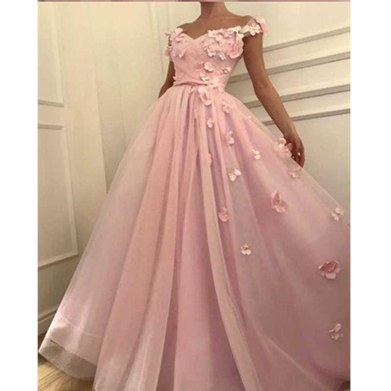 Розовые платья для выпускного вечера LORIE с открытыми плечами и цветочной аппликацией, мягкие тюлевые вечерние платья трапециевидной формы, большие размеры, на заказ