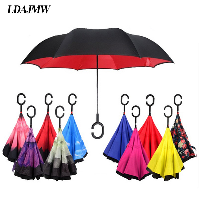 Solid Color Inverted Reverse Folding Umbrella For Double Layer Uv Proof Windproof Rain Protection C-hook Hands For Women Men Long Performance Life Home