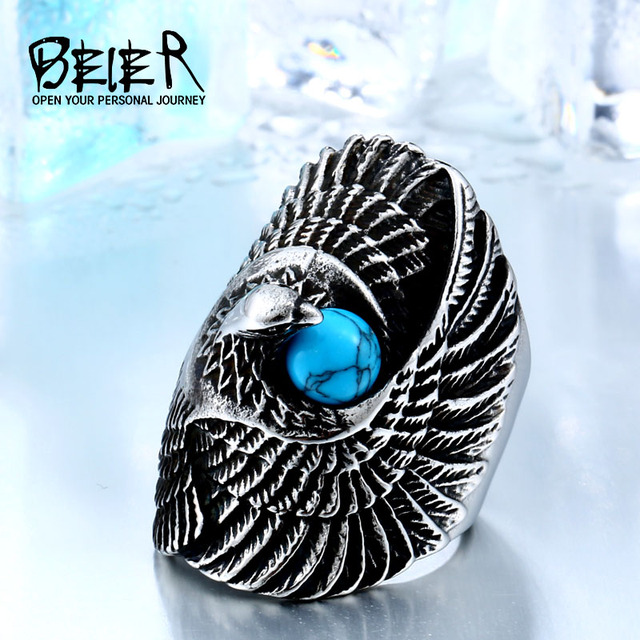 BEIER Eagle Bird Amor Animal Stainless Steel Punk Long Big Ring For Girl Wholesa