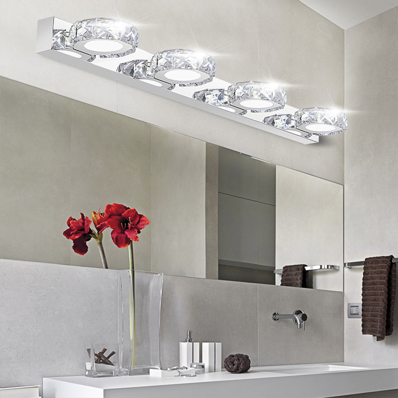 Modern K9 LED Bathroom Make Up Crystal Mirror Light Round Head Stainless  Steel Cabinet Wall Sconces