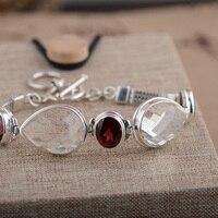 FNJ 925 Серебряный браслет белого цвета с украшением в виде кристаллов гранат 17 см звено цепи S925 тайский серебряный Браслеты для Для женщин юве