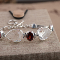 FNJ 925 Silver Bracelet White Crystal Garnet 17cm Link Chain S925 Thai Silver Bracelets for Women Jewelry