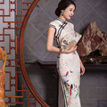 TIC-TEC 2017 Women Vintage Plus Size Chinese longTraditional Cheongsam Dress birds print short Sleeve Elegant Qipao P2479