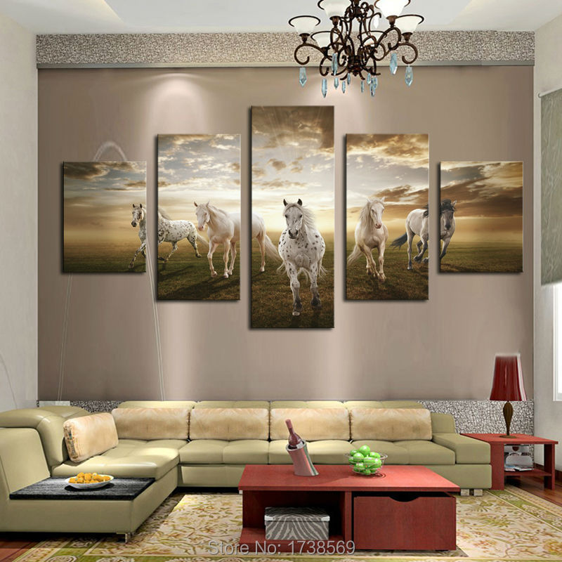 5 pcs cheap art picture running horse large hd print modern home wall decor abstract canvas - Cheap Wall Decor
