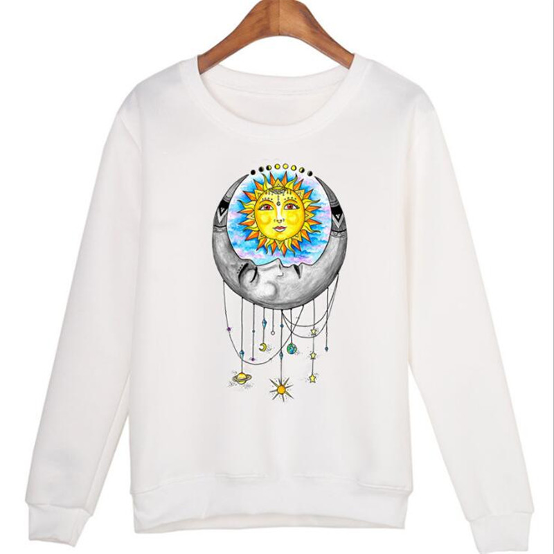 Fashion Sun Moon Planet Print Long Sleeves Round Neck White Turtleneck Sweater
