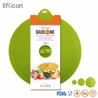 Silicone 3pcs Universal Silicone Suction Lids Fresh keeping Food Covers Antidust Bowl Pan Cooking Pot Lids Airtight Seal Stopper