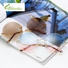 Luxury Rimless Oversized Sunglasses Women Brand Designer Round Vintage Female Sun Glasses For Women Shades Gafas De Sol