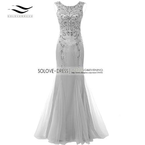 Элегантная ткань Накладка для кнопки рукав Кристалл бисером длинное платье выпускного вечера тюль русалка платье выпускного вечера Longo Vestido de festa(SLP-011 - Цвет: Silver Grey