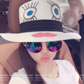 2017 New Summer Foldable Wide Large Brim Elegant Lips And Eyes Design Beach Sun Hat Women Straw Cap For Ladies Girls