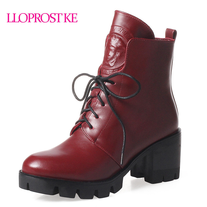 LLOPROST KE Women Ankle Boots Lace Up Round Toe Square Heel  High Heel Platform Shoes Fashion Student or OL Short Boots GL073 designer luxury designer shoes women round toe high brand booties lace up platform ankle boots high quality espadrilles boot