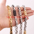 "Fashion 6/8mm Wide Silver Gold Black Tone Stainless Steel Biker Men Byzantine Box Chain Bracelet Or Necklace Xmas Gift 7""-40"""
