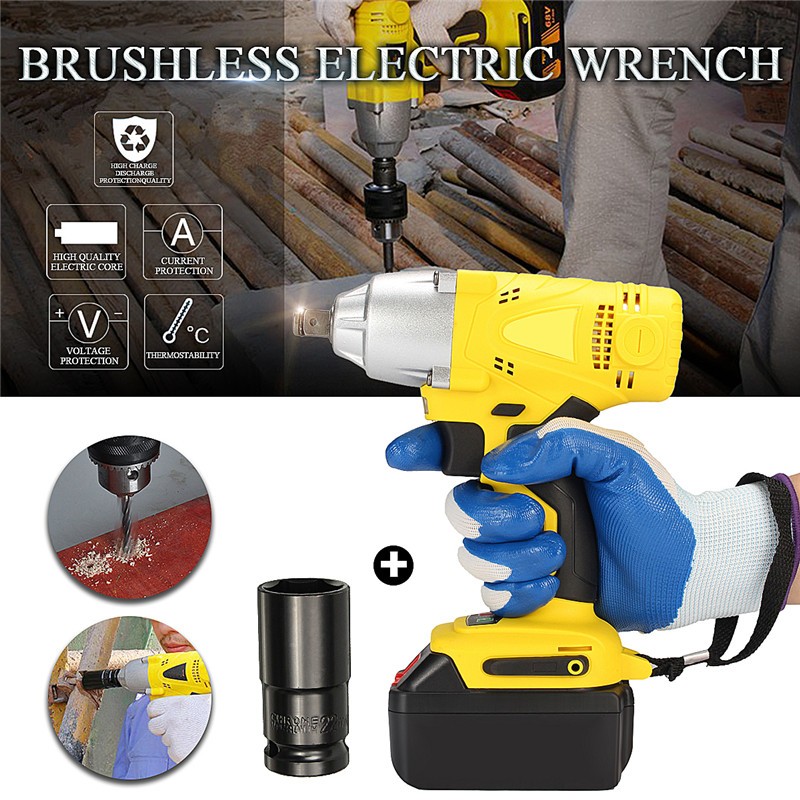 New Brushless Cordless 340nm Torque Electric Wrench With LED Impact Socket Wrench Li Battery Hand Drill Installation Power Tools цена