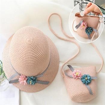 Baby Girls Children Straw Beauty Floral Hat Baby Sun Hat Girl Summer Cap Beach Visor Hat Straw Bag Two-Piece Sets 2