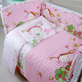 Free Shipping Cotton Pink Baby Bedding Set Cartoon Crib Bedding Set for Girls Detachable Cot Quilt Pillow Bumpers Fitted Sheet