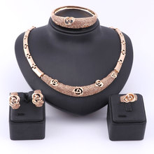 African Beads Jewelry Set Women Austrian Champagne Crystal Gold Color Fashion African Dubai Necklace Fine Jewelry Sets