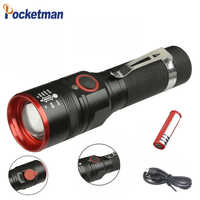Waterproof 5200LM USB Rechargeable Flash light XML-T6 Led Flashlight Zoomable 3 modes torch for 18650 with USB cable Camping z40