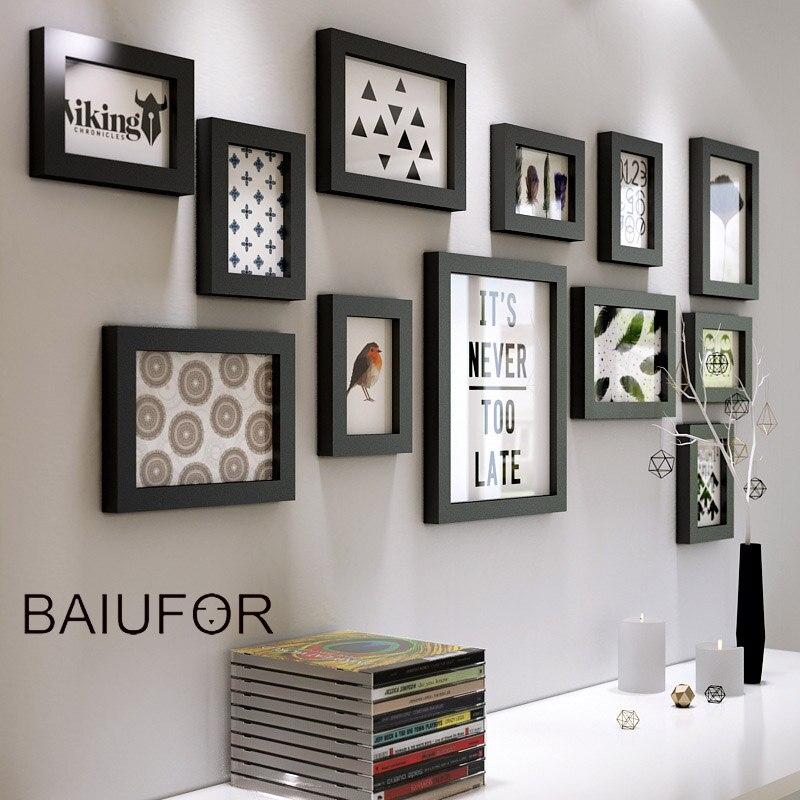 BAIUFOR 12 pièces/ensemble ensemble de cadre Photo en bois blanc noir, cadres Photo Vintage, ensemble de cadre Photo en bois décor de cadre Photo Art mural