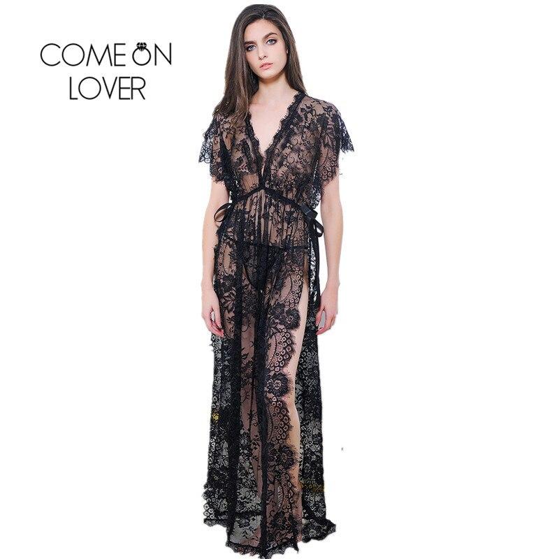 Comeonlover Long Deep V Mujeres camisón Vestido de encaje transparente negro Split Vestido exótico Lencería Sexy camisón Ropa de dormir larga RI80262