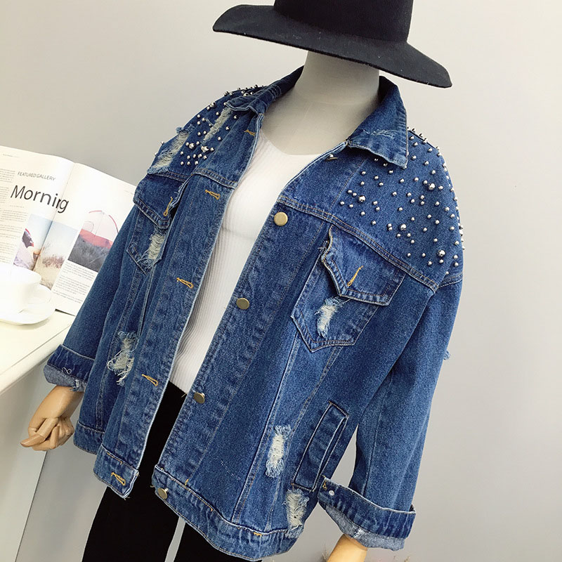 Hot Fashion Oversize Denim Jacket Loose Long-sleeved Women Hole Jacket Coat Leisure All-matched Top Outwear Beads Streetwear
