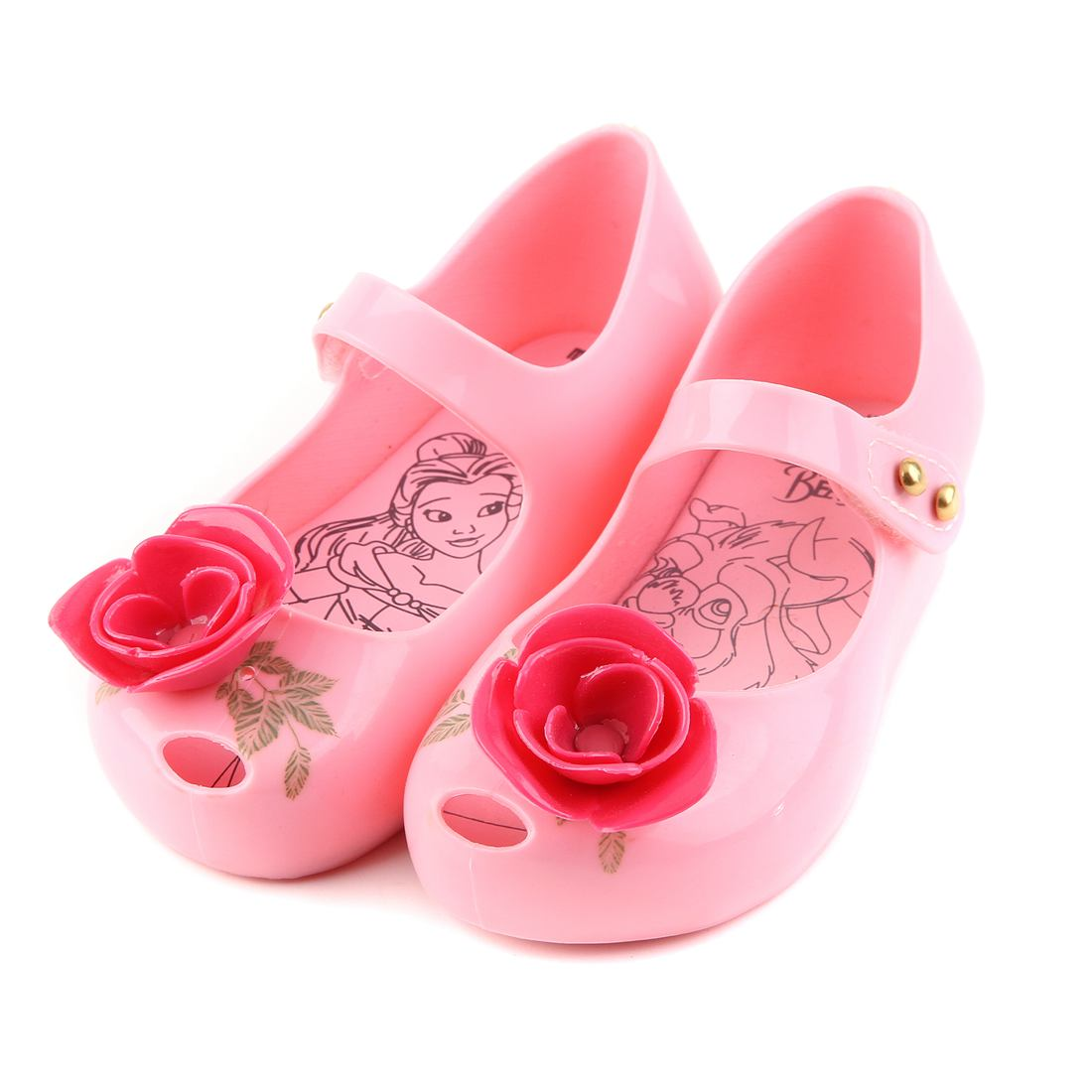 Melissa Kids Sandals Mini Rose With Green Leaves Printed Girl Shoe New Beauty Beast Jelly Princess Rain Shoes Soft Plastic