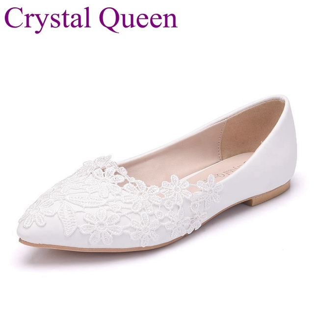 Crystal Queen White Lace Flat Wedding Shoes Women Flat Pointed Toe Ballet  Flats Casual Shoes Plus