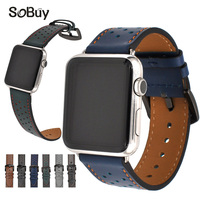 IDG Genuine Leather Strap For Apple Watch Band 42 Mm 38mm Wave Point Bracelet Leather Band
