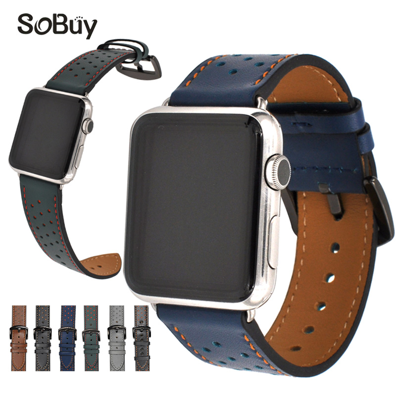 So buy Genuine leather strap for apple watch band 42mm/38mm Wave point bracelet leather band for iwatch series 1/2/3 wristbands