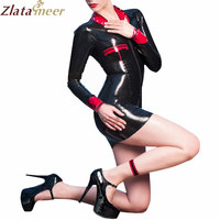 Front Zip Latex Sexy Women Dress Costumes LD244