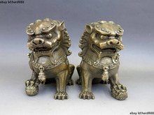A Pair Medicine old Chinese Brass Copper Animal Feng shui Foo Dog Lion town house Statue 2pcs Garden Decoration Bronze