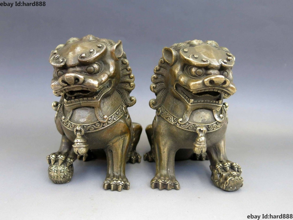 A Pair Medicine old Chinese Brass Copper Animal Feng shui Foo Dog Lion town house Statue 2pcs Garden Decoration
