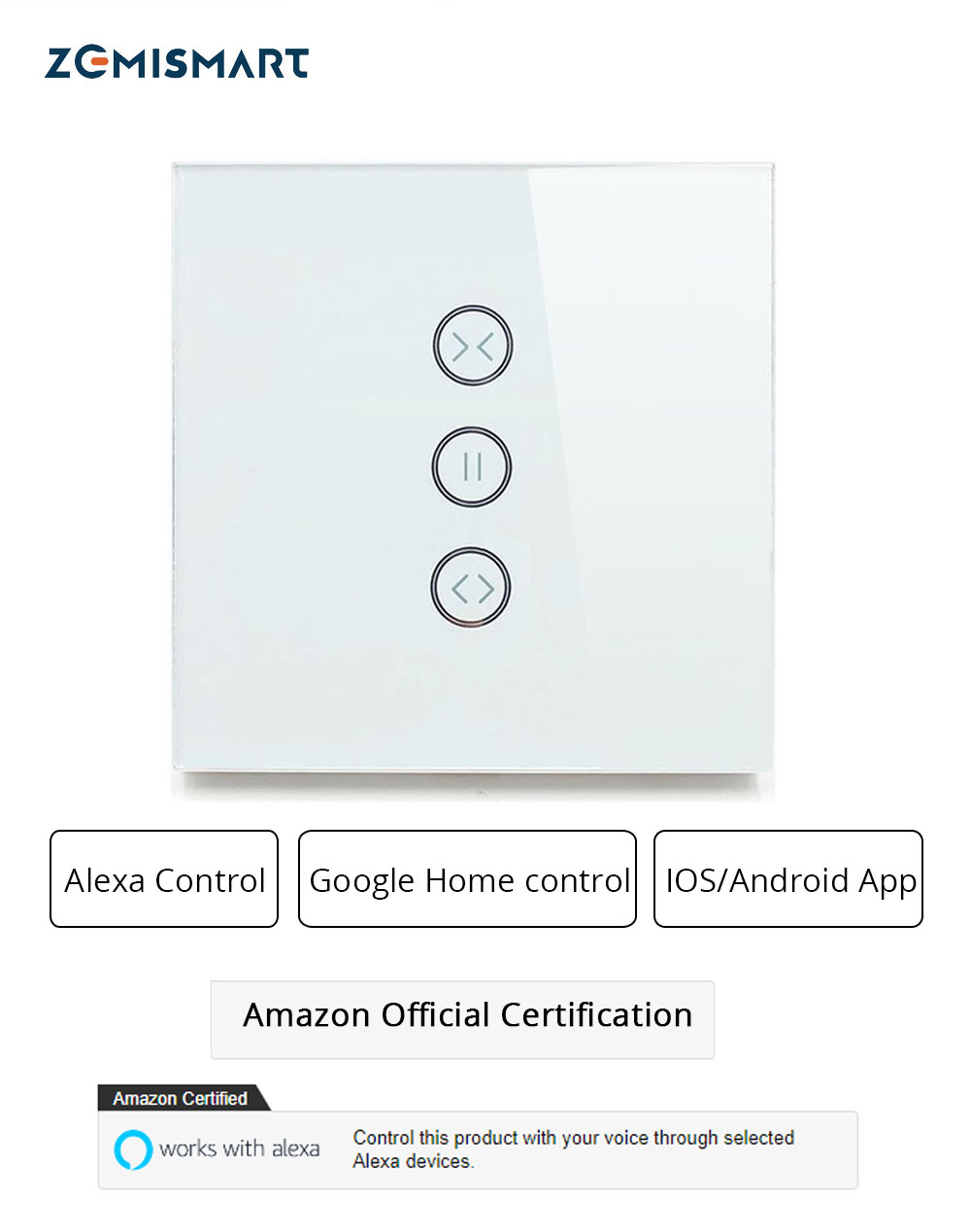 EU Curtain Switch Blind Switches For Standard Roller Motor Slide Engine Google Home Assistant Alexa Echo Wifi APP Control(1)